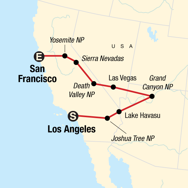 San Francisco To Los Angeles Map.Los Angeles To San Francisco Express In United States North America