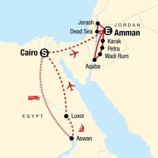 Map of Egypt & Jordan Adventure