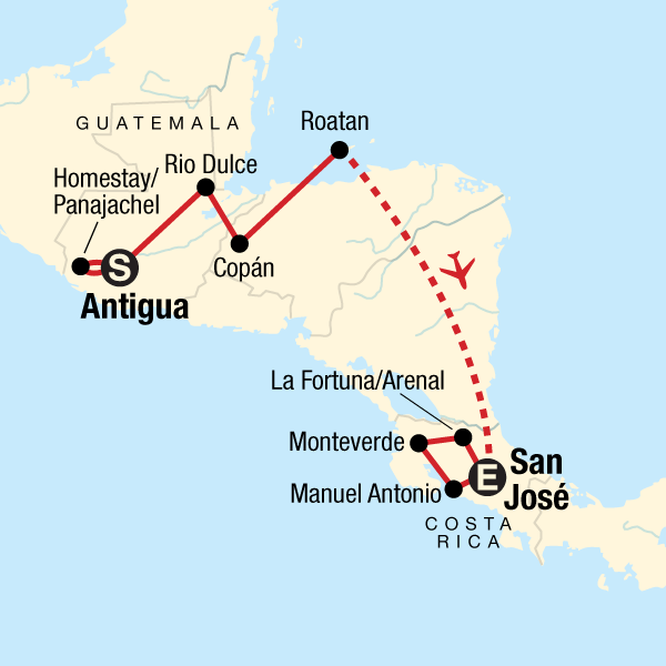 Map of the route for Volcano Adventure – Antigua to San José