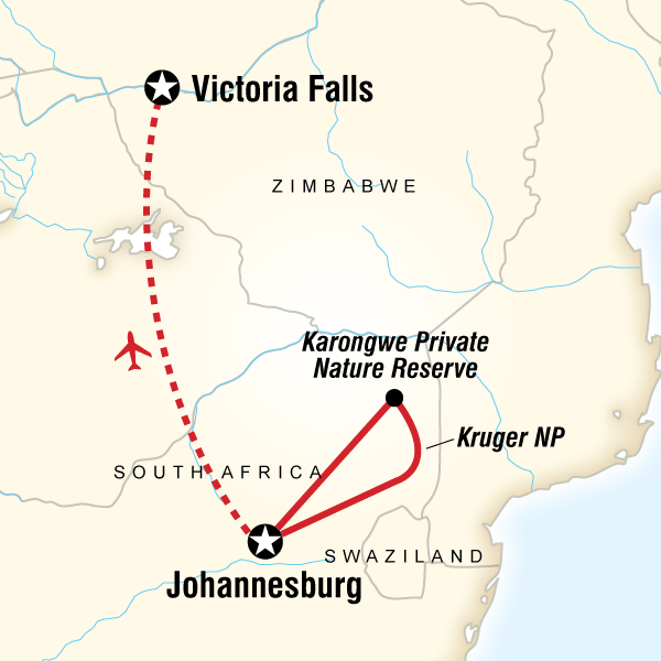Map of the route for Kruger & Falls
