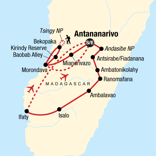 Map of the route for Ultimate Madagascar Adventure