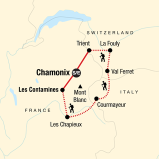 Map of Trekking Mont Blanc