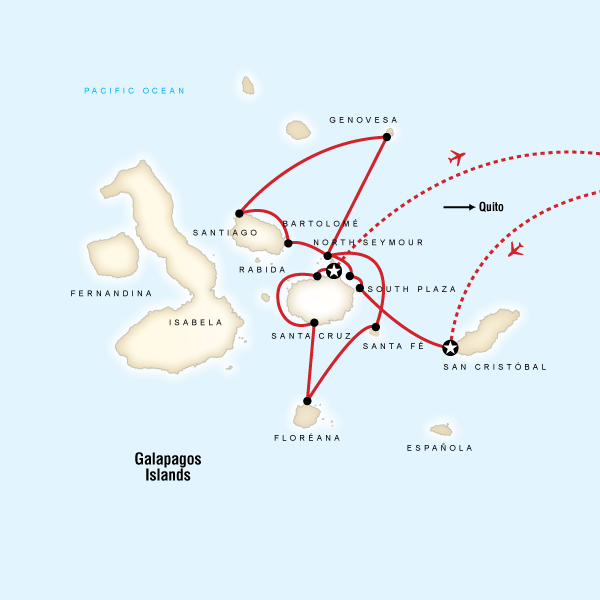 Map of the route for Galápagos — North & Central Islands aboard the Evolution