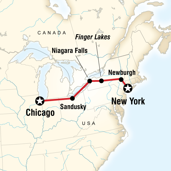 Map Of The Route For New York To Chicago Road Trip