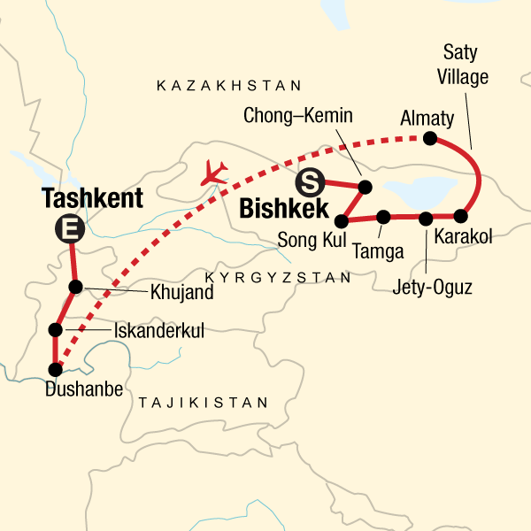 Map of the route for Best of Kyrgyzstan and Tajikistan