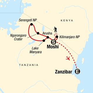 Map of Kilimanjaro, Serengeti & Zanzibar