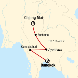 Map of Bangkok to Chiang Mai Express — Plus