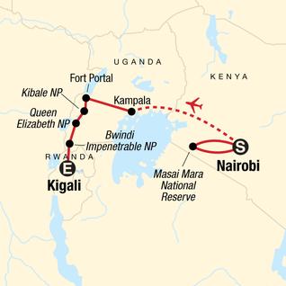 Map of Masai Mara & Gorilla Adventure