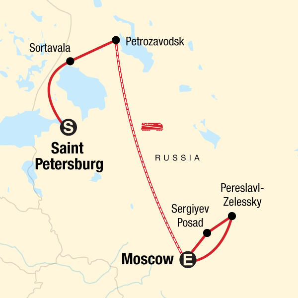 Map of the route for Back Roads of Russia: St Petersburg - Moscow