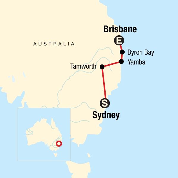 Brisbane Map Australia.Sydney To Brisbane Experience
