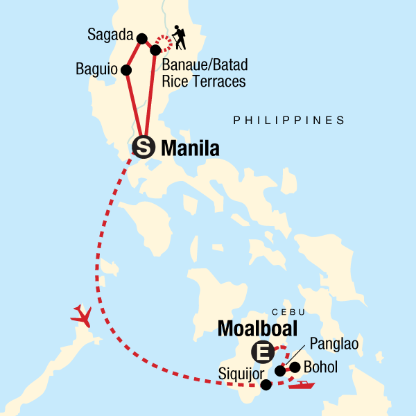 Map of the route for Northern Philippines & Islands on a Shoestring