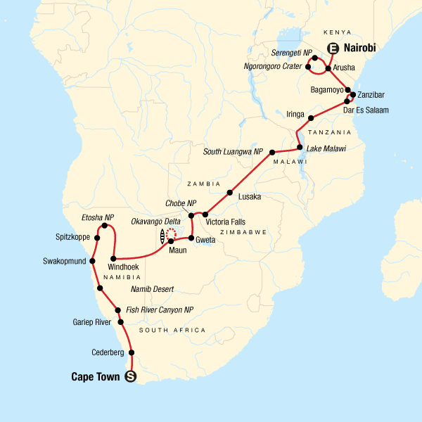 Von Kapstadt in die Serengeti – Wüsten & Wildtiere