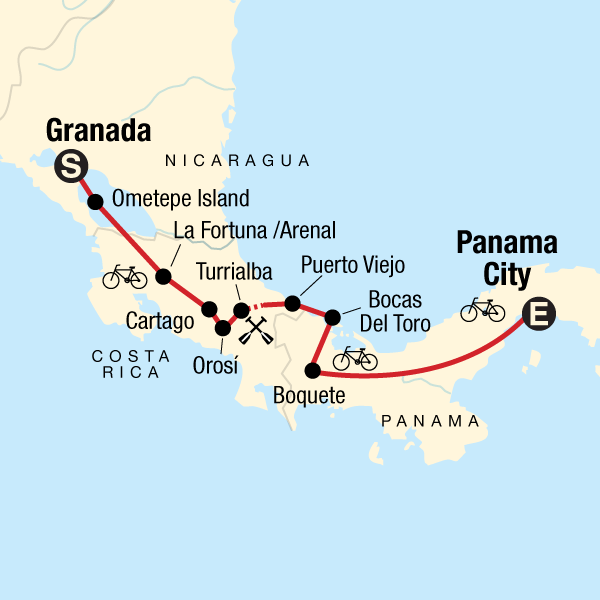 Map of the route for Cycle Central America