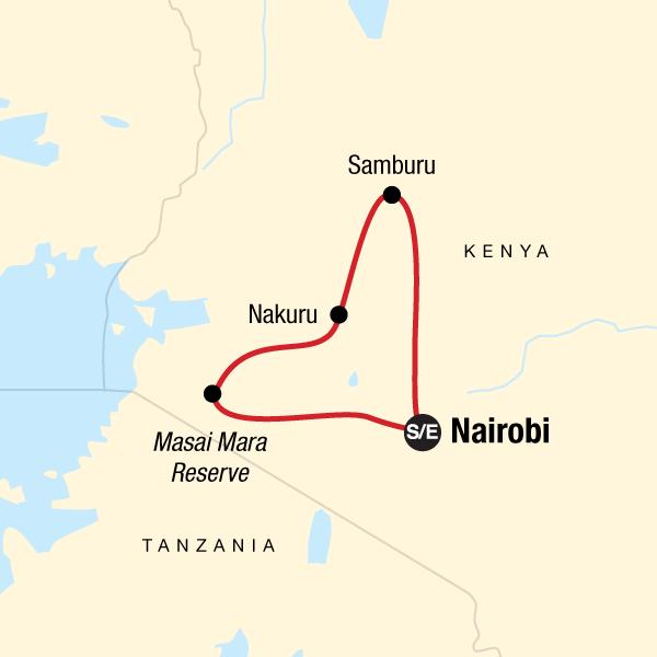 Map of the route for Kenya Camping Safari