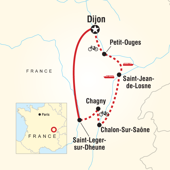 Map of the route for Burgundy River Cruise Adventure - Northbound