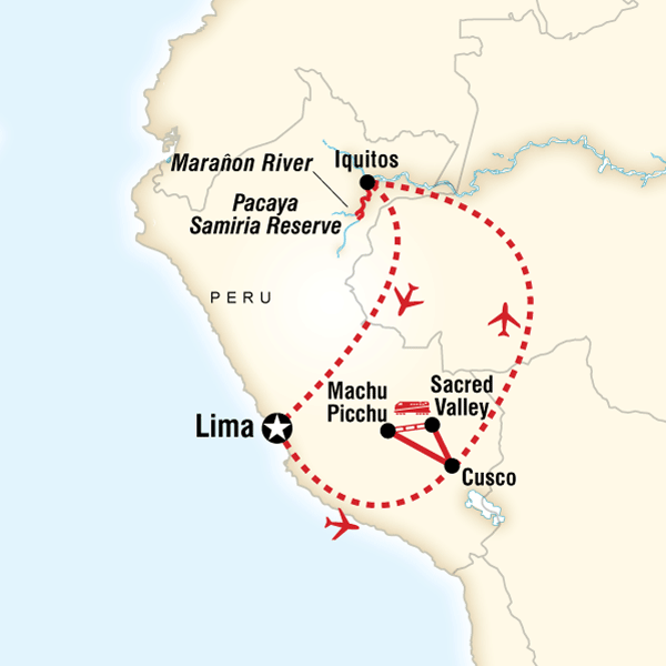 Map of the route for Explore Machu Picchu & Amazon Riverboat