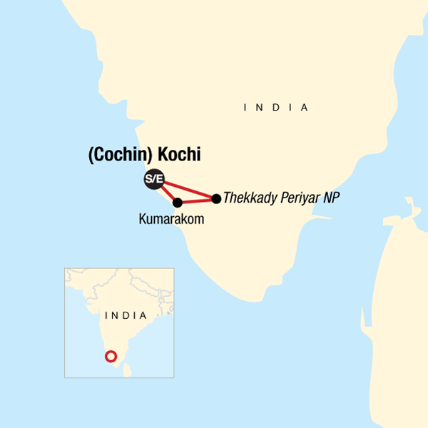 Map of the route for South India: Explore Kerala