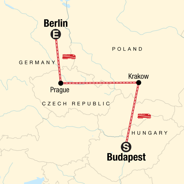 Map Of Germany Krakow.Budapest To Berlin On A Shoestring