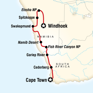 Namibia tours travel g adventures map of cape dunes overland northbound gumiabroncs Images