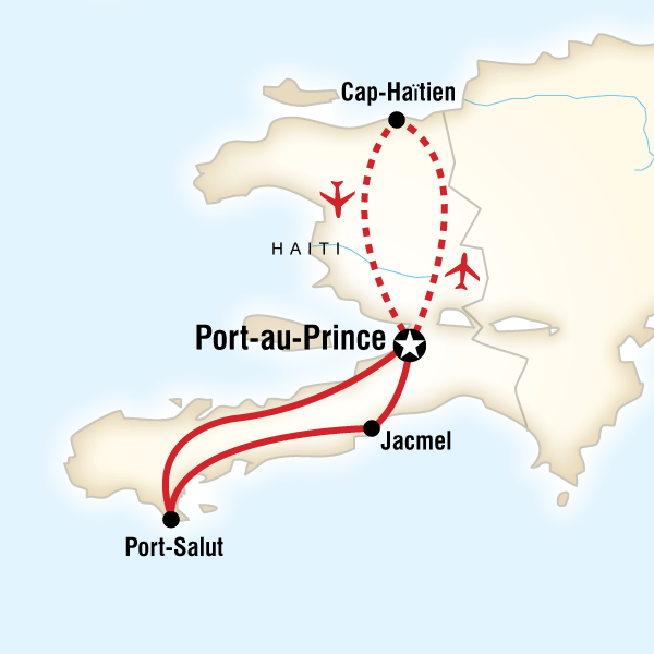Map of the route for Highlights of Haiti