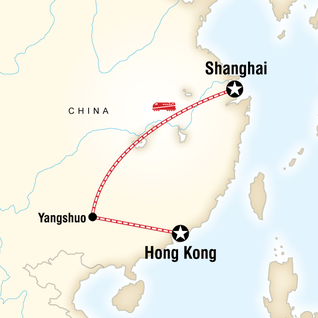 Map of  Shanghai to Hong Kong on a Shoestring