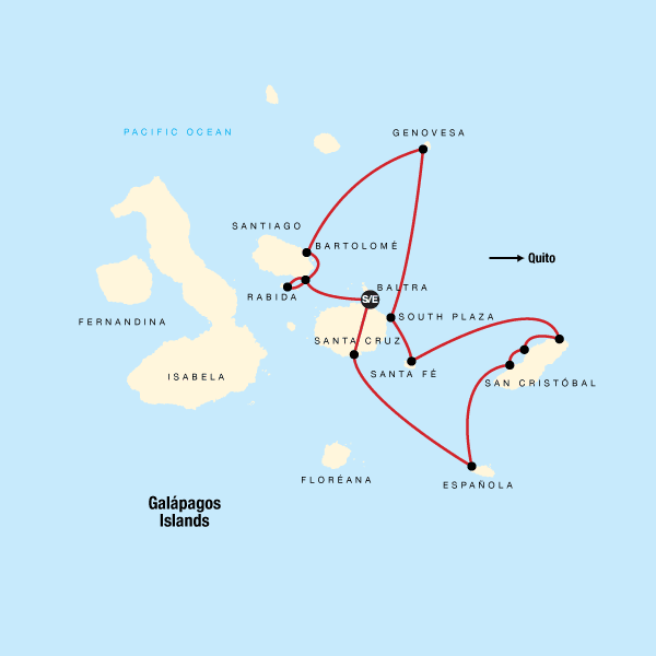 Map of the route for Galápagos – Central and East Islands aboard the Reina Silvia Voyager (Cruise Only)