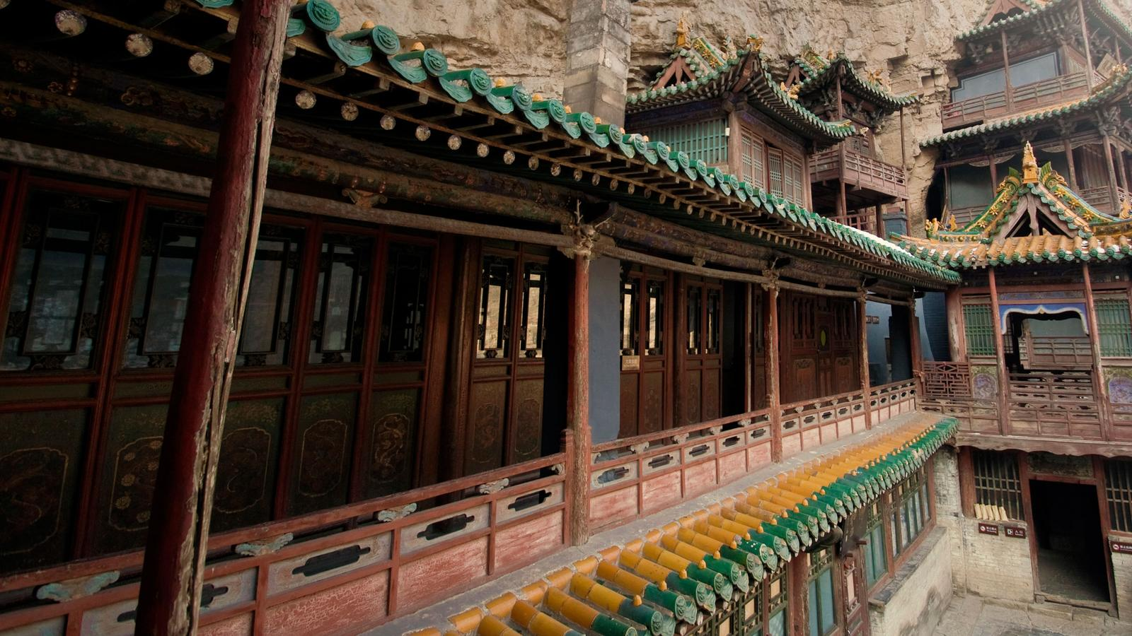 A temple built into a mountain in China