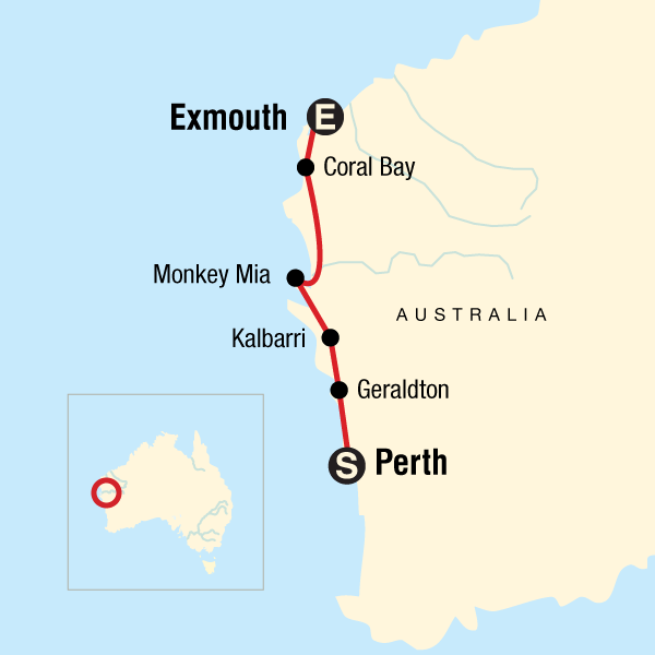 Map of the route for Best of the Coast – Western Australia