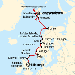 Map of Norwegian Fjords and Realm of the Polar Bear