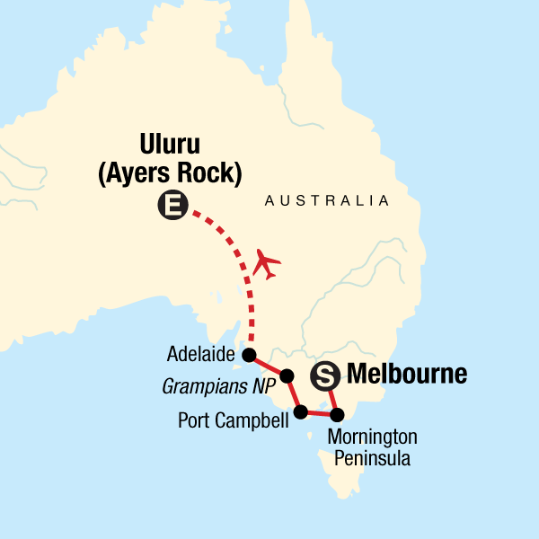 Map of the route for Melbourne, Outback & Uluru Adventure