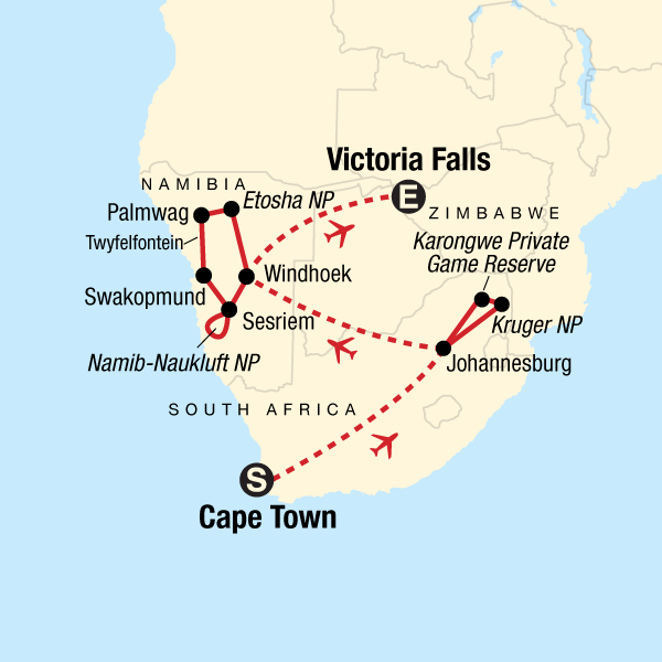 Map Of South Africa And Zimbabwe.Southern Africa Highlights In Namibia Africa G Adventures