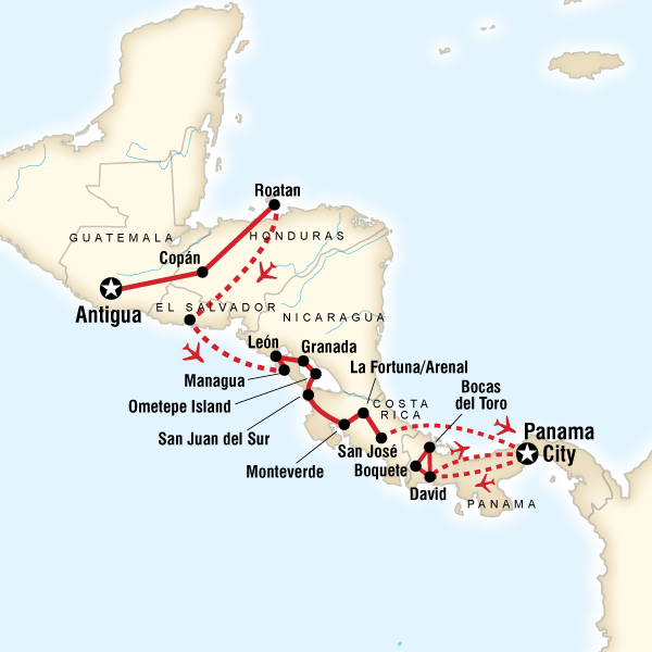 Map of the route for Volcano Adventure & Panama Highlights