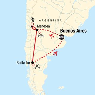 Map of Mendoza and Bariloche Multisport