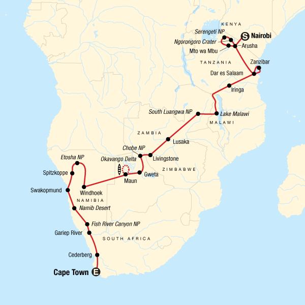Map Of Africa Tanzania.Serengeti Falls