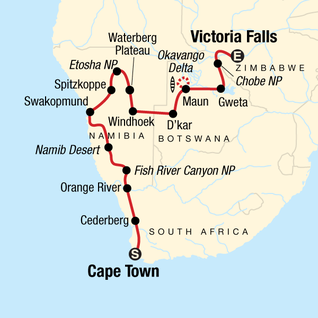 Map of Southern Africa Northbound: Dunes, Deltas & Falls