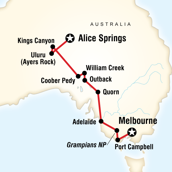 Map Of The Route For Melbourne To The Red Centre