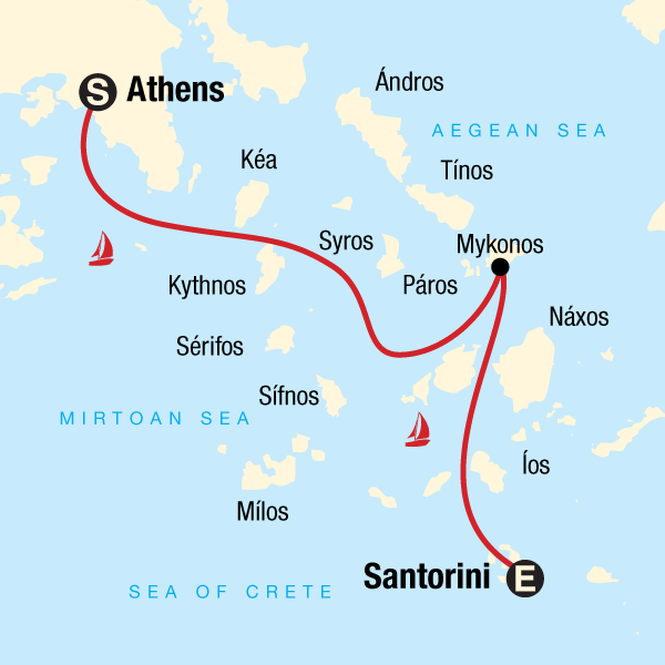 Map of the route for Sailing Greece - Athens to Santorini