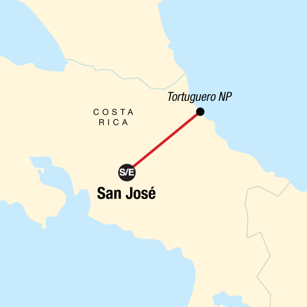 Map of the route for Tortuguero National Park Tour – 4-Day Independent Adventure