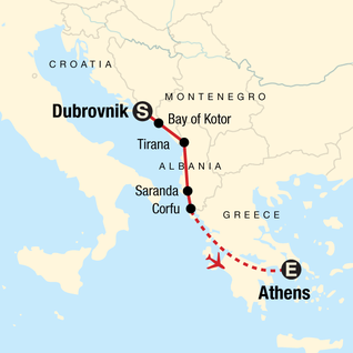Map of Dubrovnik to Athens: Ouzo & Old Towns