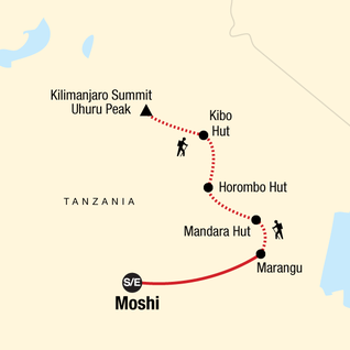 Map of Mt Kilimanjaro Trek - Marangu Route