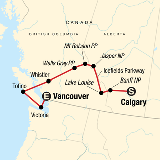 Map of Canadian Rockies: National Parks Westbound