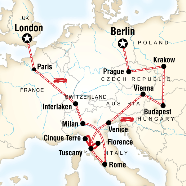 Map of the route for London to Berlin on a Shoestring