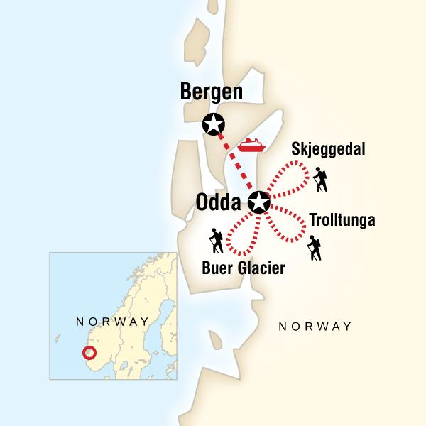 Norwegian Fjord Trekking In Norway Europe G Adventures - Norway map hd
