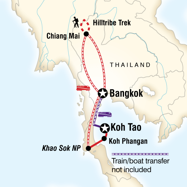 Map of the route for Thailand on a Shoestring