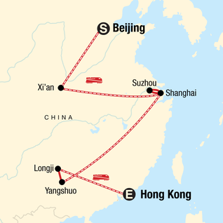 Map of Classic Beijing to Hong Kong Adventure