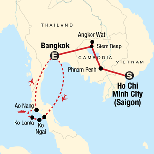 Map of Classic Cambodia and Thai Islands – West Coast