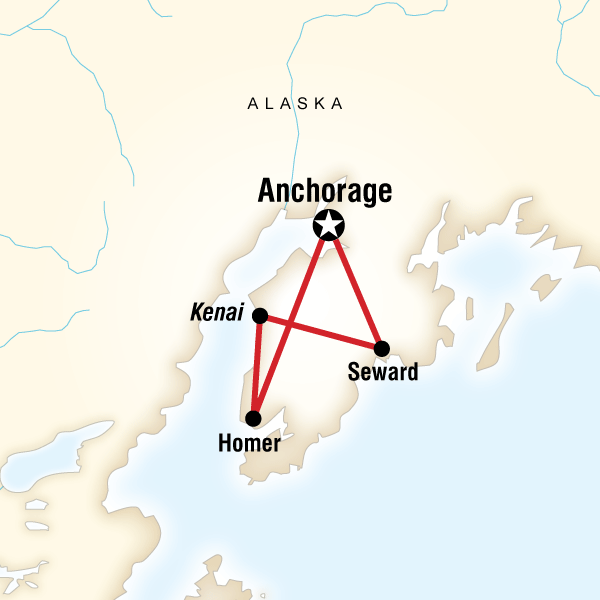 Map of the route for Alaska Active Escape