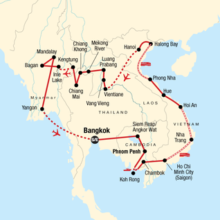 Map of Indochina In-Depth: Temples & Teal Water