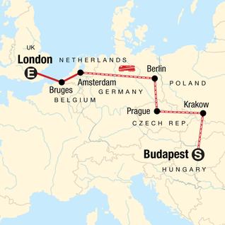 Map of Budapest to London: Bike Tours & Belgian Waffles