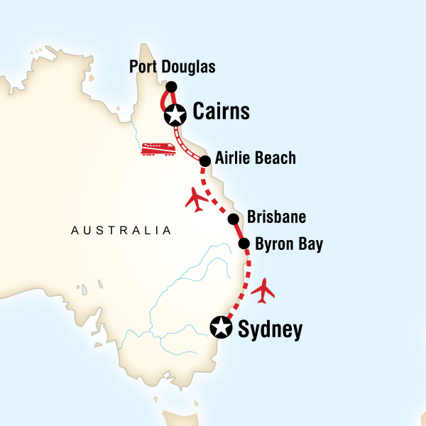map of the route for east coast australia in style